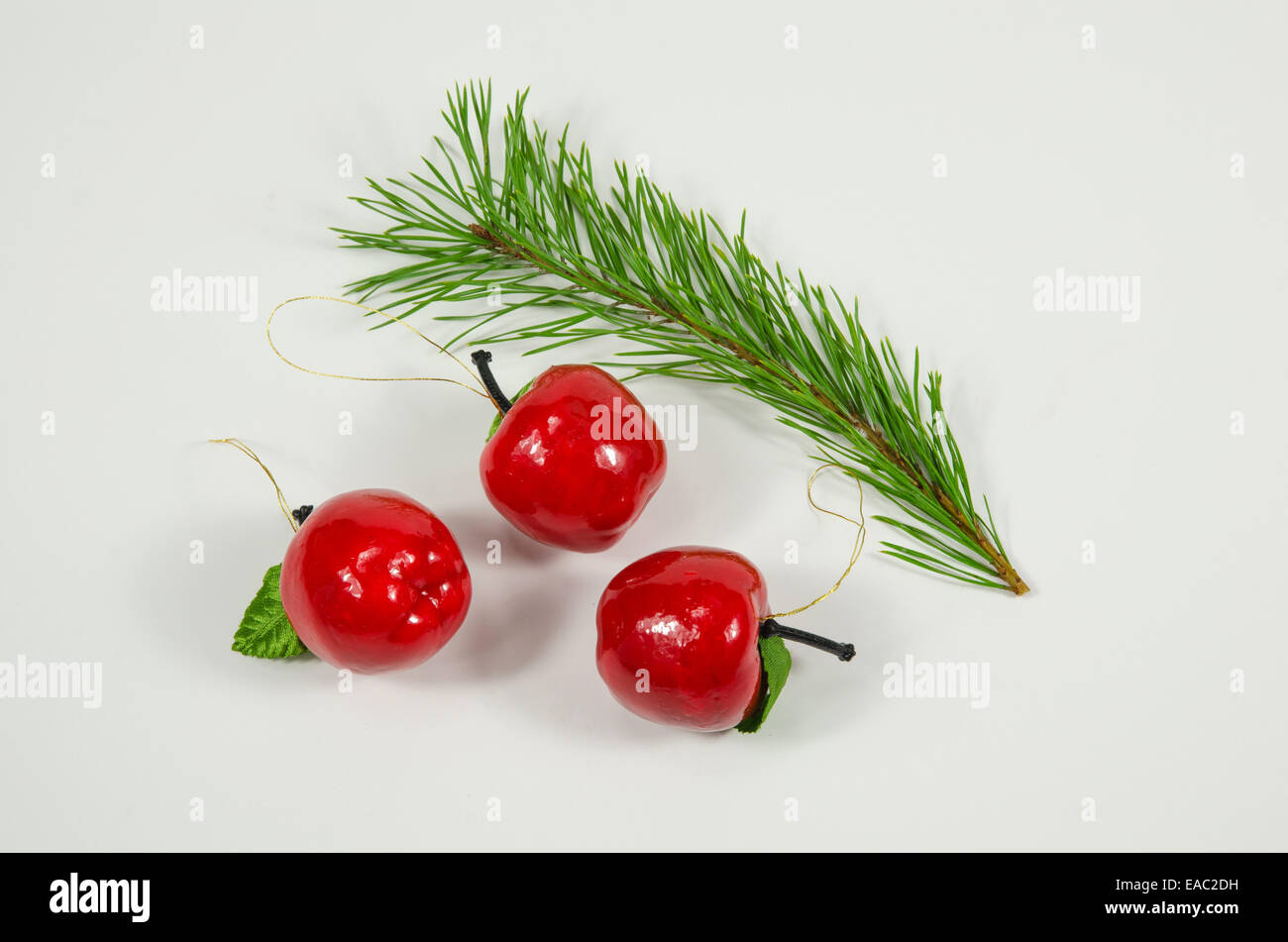 Christmas decorations of red apples and a green pine tree twig - Stock Image