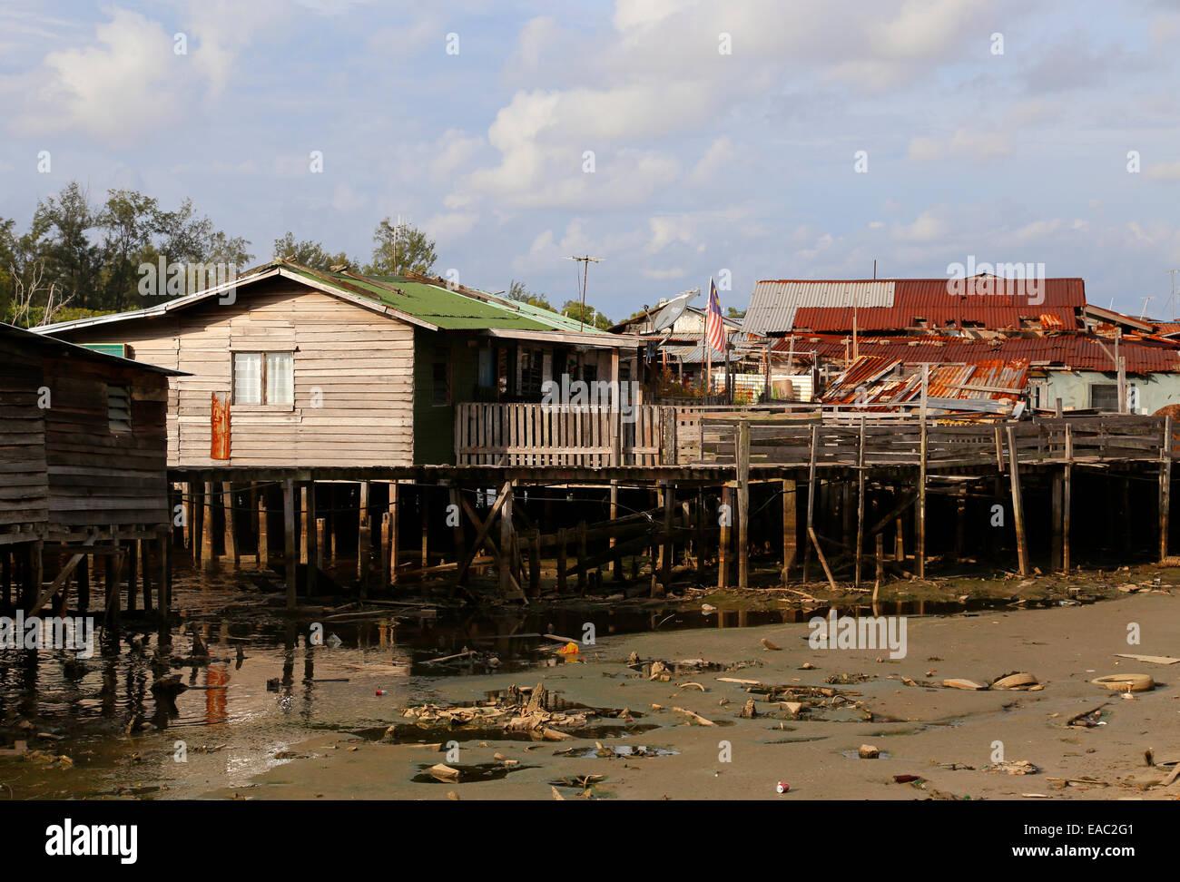 Malay Kampung - Malay village - on the river Miri in Miri, Sarawak, Malaysia - Stock Image