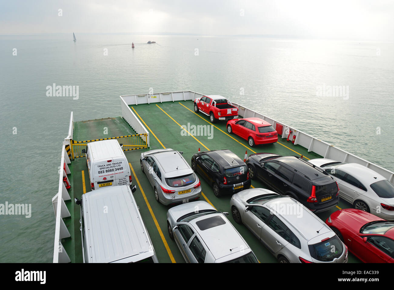 Red Funnel car ferry from Southampton to East Cowes, Isle of Wight, England, United Kingdom - Stock Image