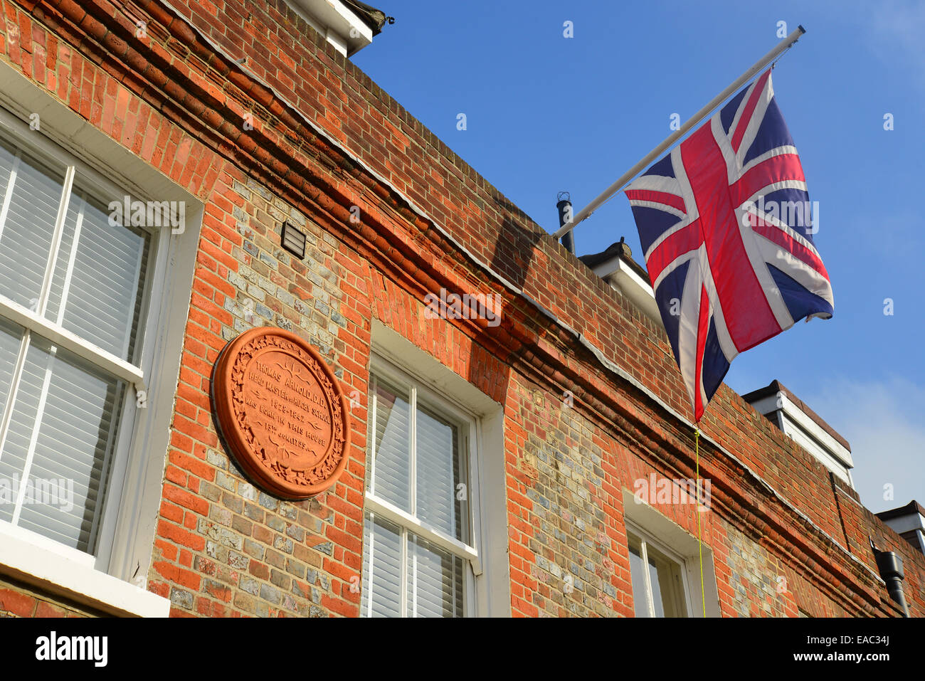 House plaque to Thomas Arnold (Headmaster of Rugby School), Birmingham Road, Cowes, Isle of Wight, England, United - Stock Image