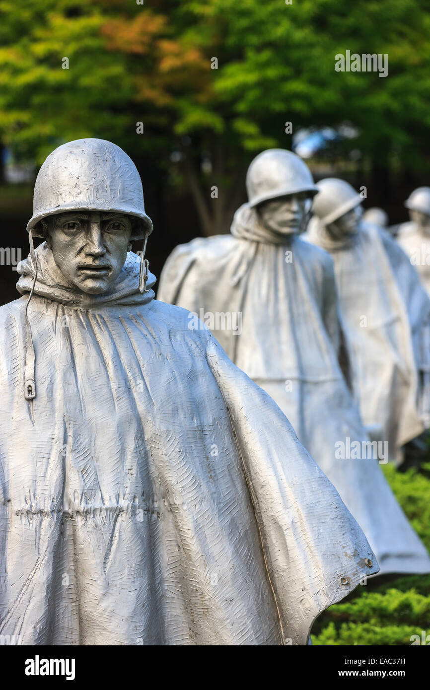 The Korean War Veterans Memorial is located in Washington, D.C.'s West Potomac Park, southeast of the Lincoln Memorial Stock Photo