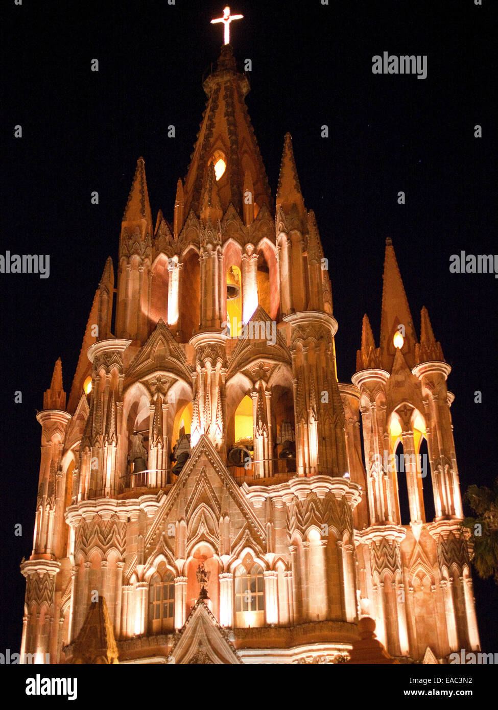 Spire of Old Church at Night - Stock Image