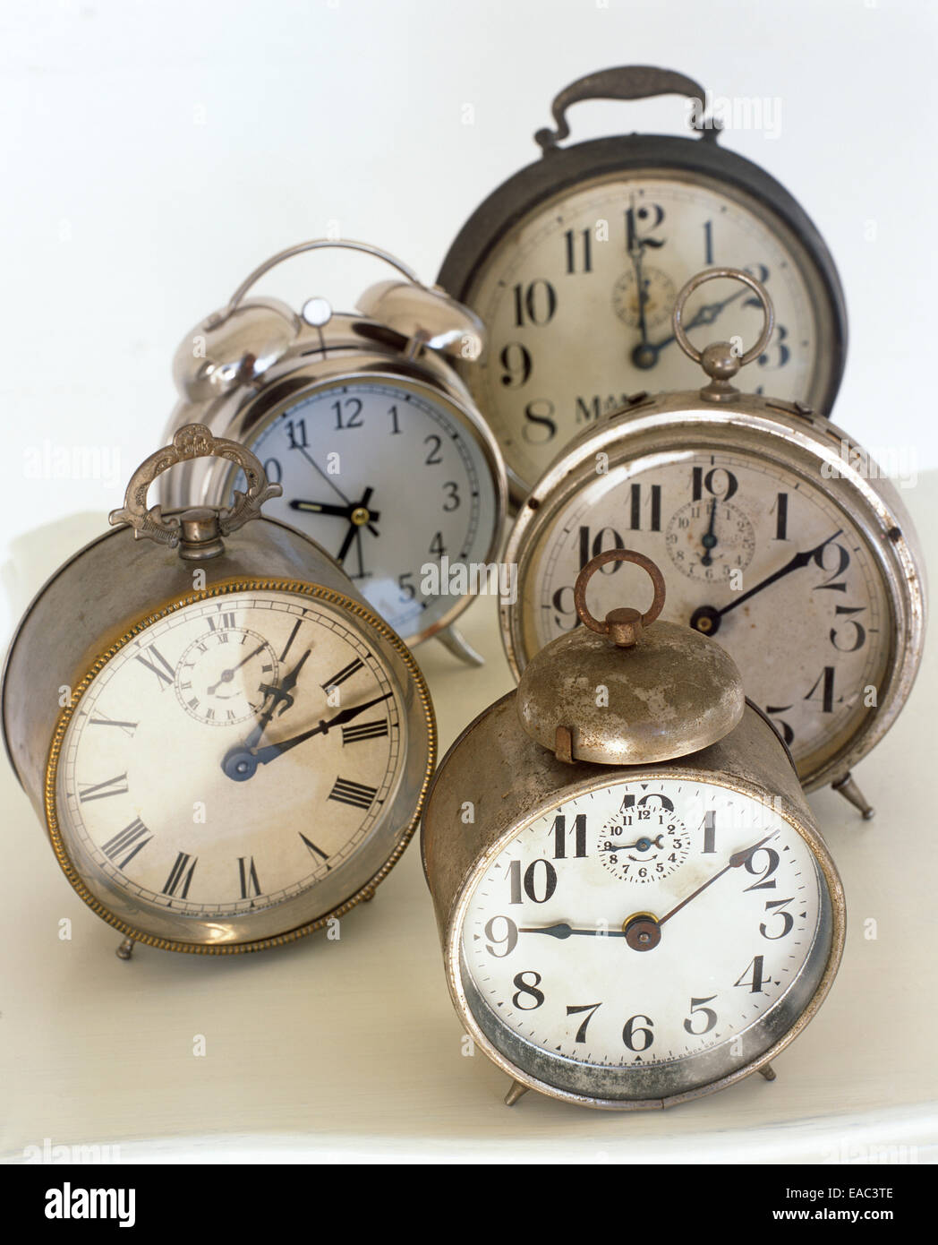 collection of vintage alarm clocks - Stock Image