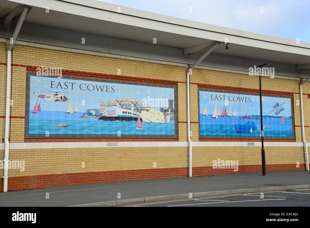 East Cowes murals on wall of Waitrose Supermarket, East Cowes, Isle of Wight, England, United Kingdom - Stock Image