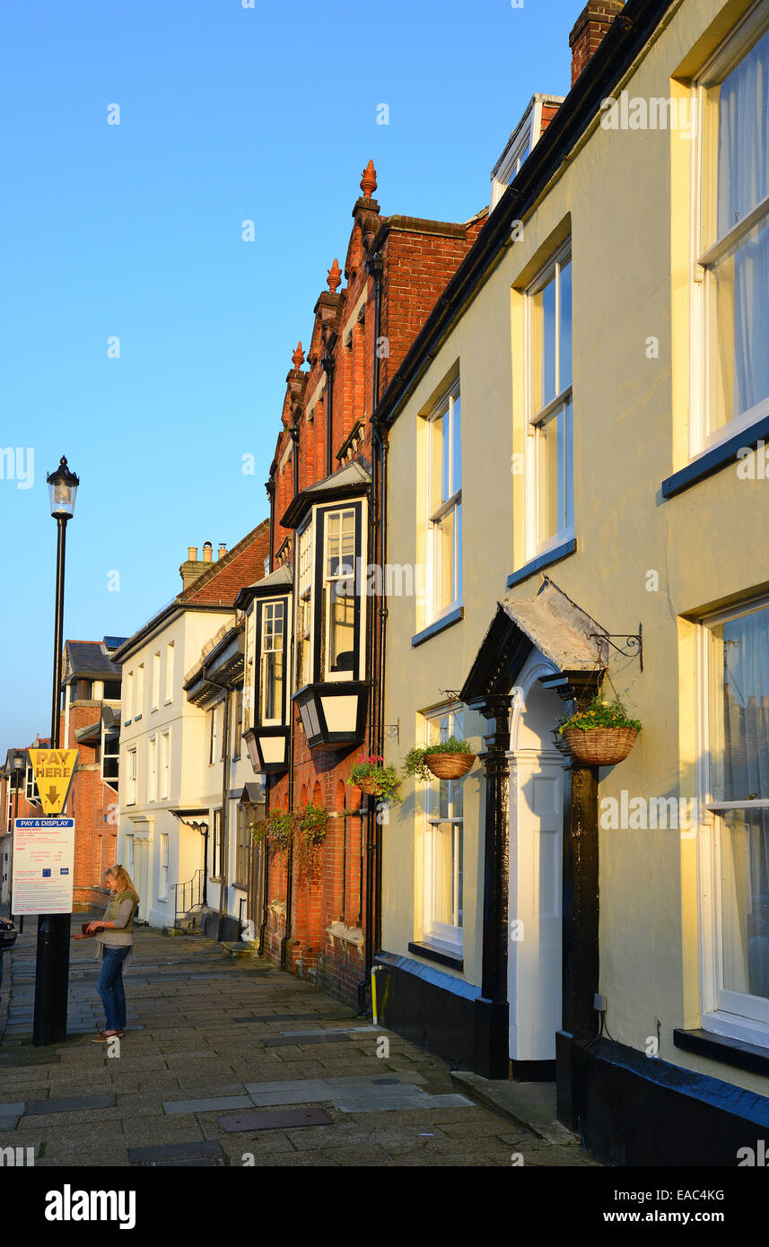 Period buildings at sunset, Quay Street, Newport, Isle of Wight, England, United Kingdom - Stock Image