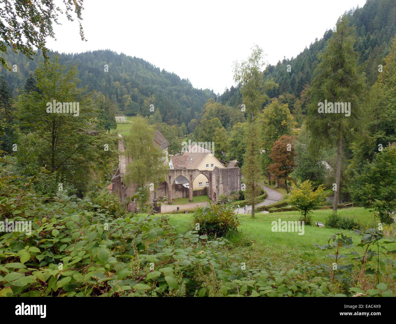Oppenau, Germany. 02nd Sep, 2014. The ruins of the All Saints' Abbey and the restaurant in Oppenau, Germany, - Stock Image