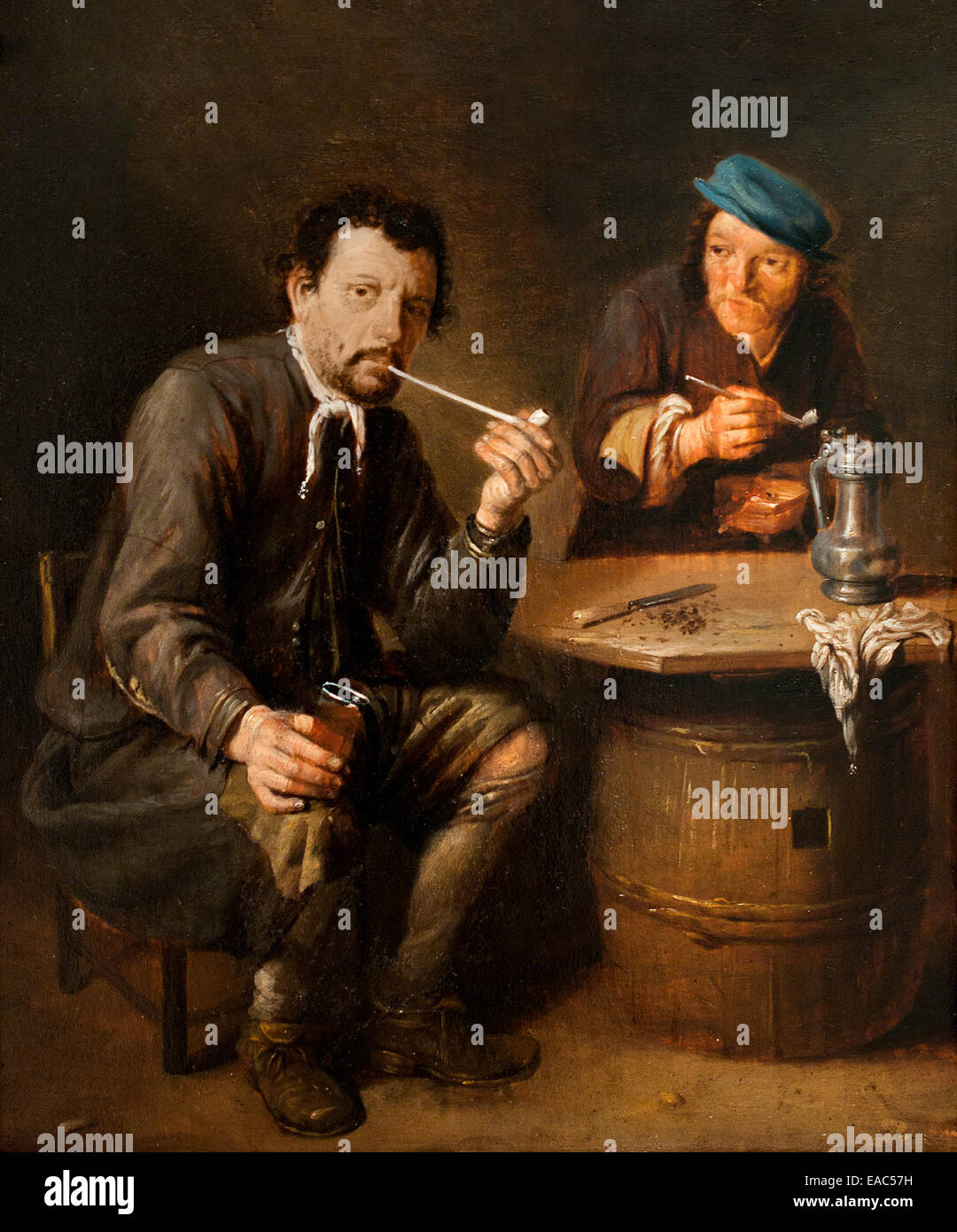 Deux fumer dans un cabaret - Two smoking in a tavern by  Mathijs Wulfraet 1648 – 1727 Dutch Golden Age painter - Stock Image