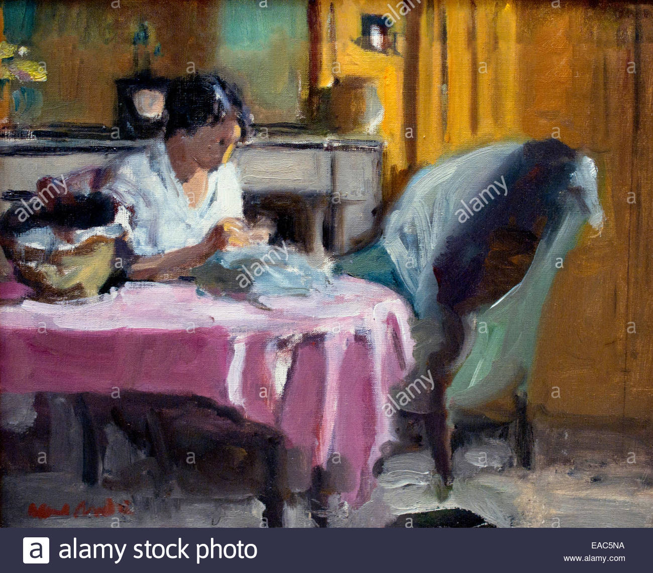 La couture - sewing Albert André ( 1869 – 1954) France French - Stock Image