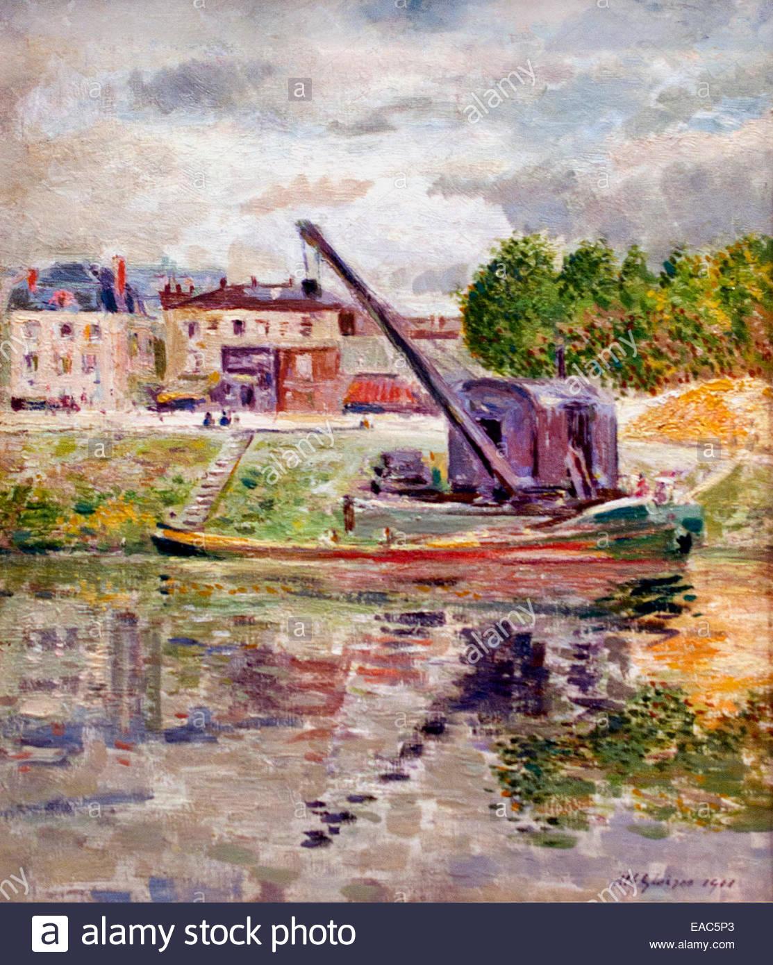 Bords de rivière - River banks in 1901 Albert Gleizes ( 1881 – 1953) France French - Stock Image