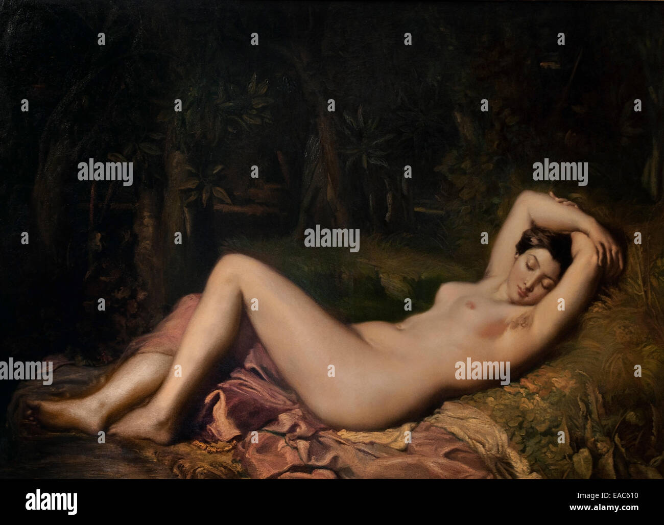 Bather Sleeping  by Théodore Chassériau (1819–1856) France French - Stock Image