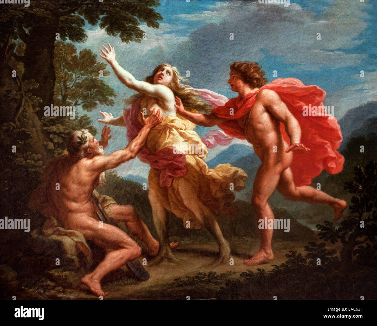 Apollo pursuing Daphne Pietro Bianchi 1694-1740 Italy Italian Apollo clutches Daphne's hip pursuing her as she - Stock Image