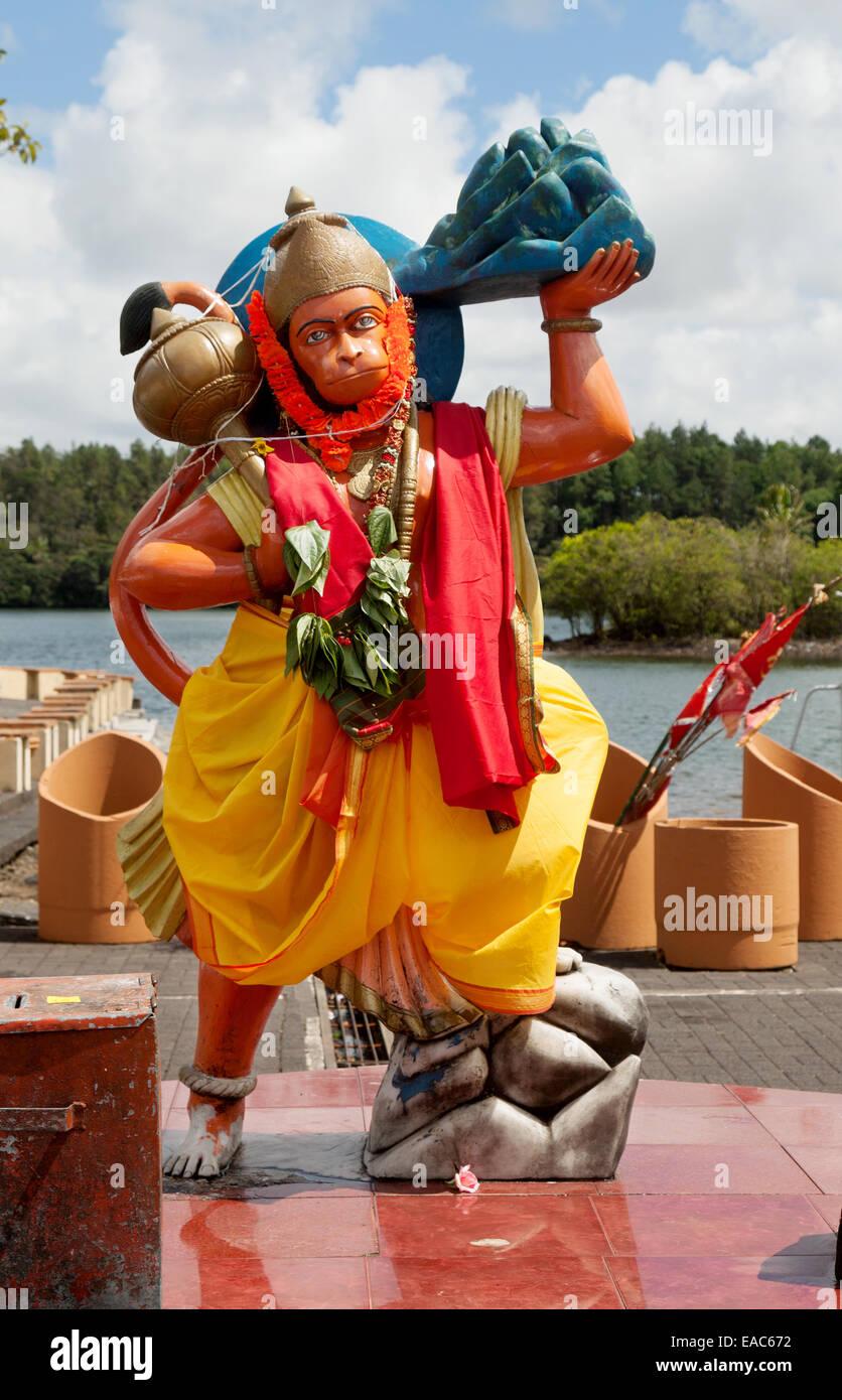 A statue of the Hindu God Hanuman at the Hindu Temple on the shores of Grand Bassin lake , Mauritius - Stock Image