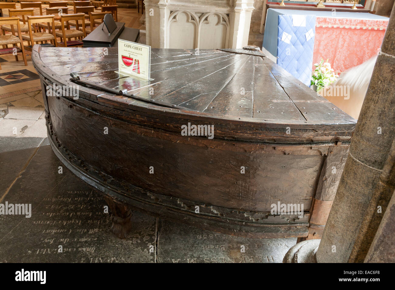 Ancient cope chest , used for storing church robes, in Wells Cathedral, Somerset - Stock Image