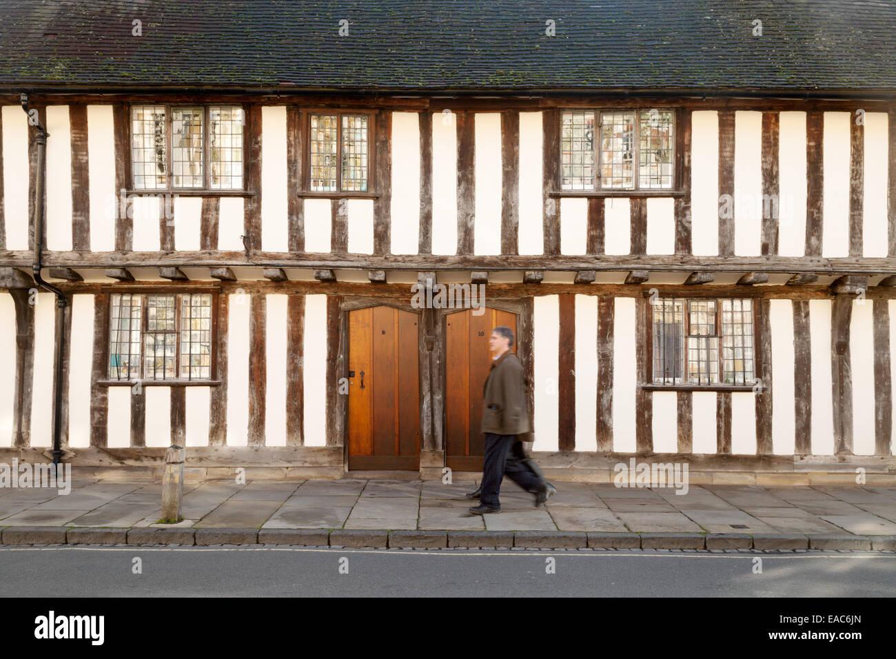Medieval old tudor buildings - Alms houses, Stratford Upon Avon, Warwickshire, UK - Stock Image