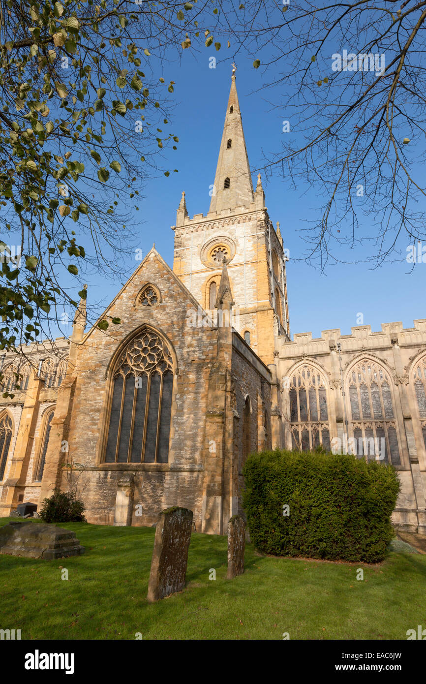 Holy Trinity Church, Stratford upon Avon, inside of which is Shakespeare's grave, Stratford-upon-Avon, Warwickshire - Stock Image