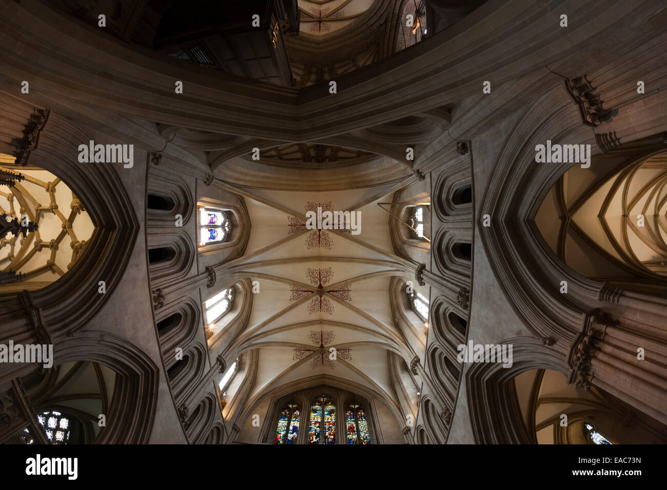 The interior of Wells Cathedral, underneath the famous and scissor arch - Stock Image