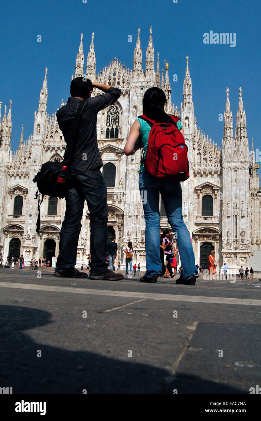 Italy, Lombardy, Milan, Piazza Duomo Square, Duomo Catherdral, Tourists Stock Photo