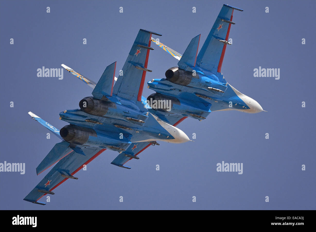 Su-27 of Russian Knights display team in flight - Stock Image