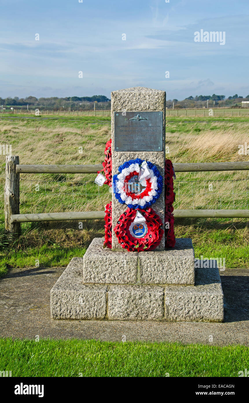Memorial to the Royal Flying Corps contingent of the 1914 British Expeditionary Force which flew from this fiels - Stock Image