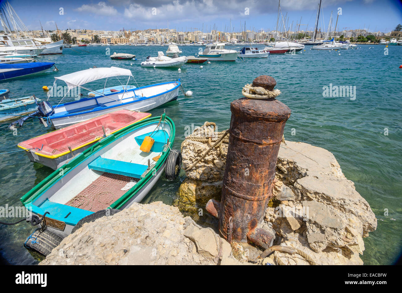 Naval canon from the Napoleonic era used as mooring posts around the Grand Harbour in Malta. - Stock Image