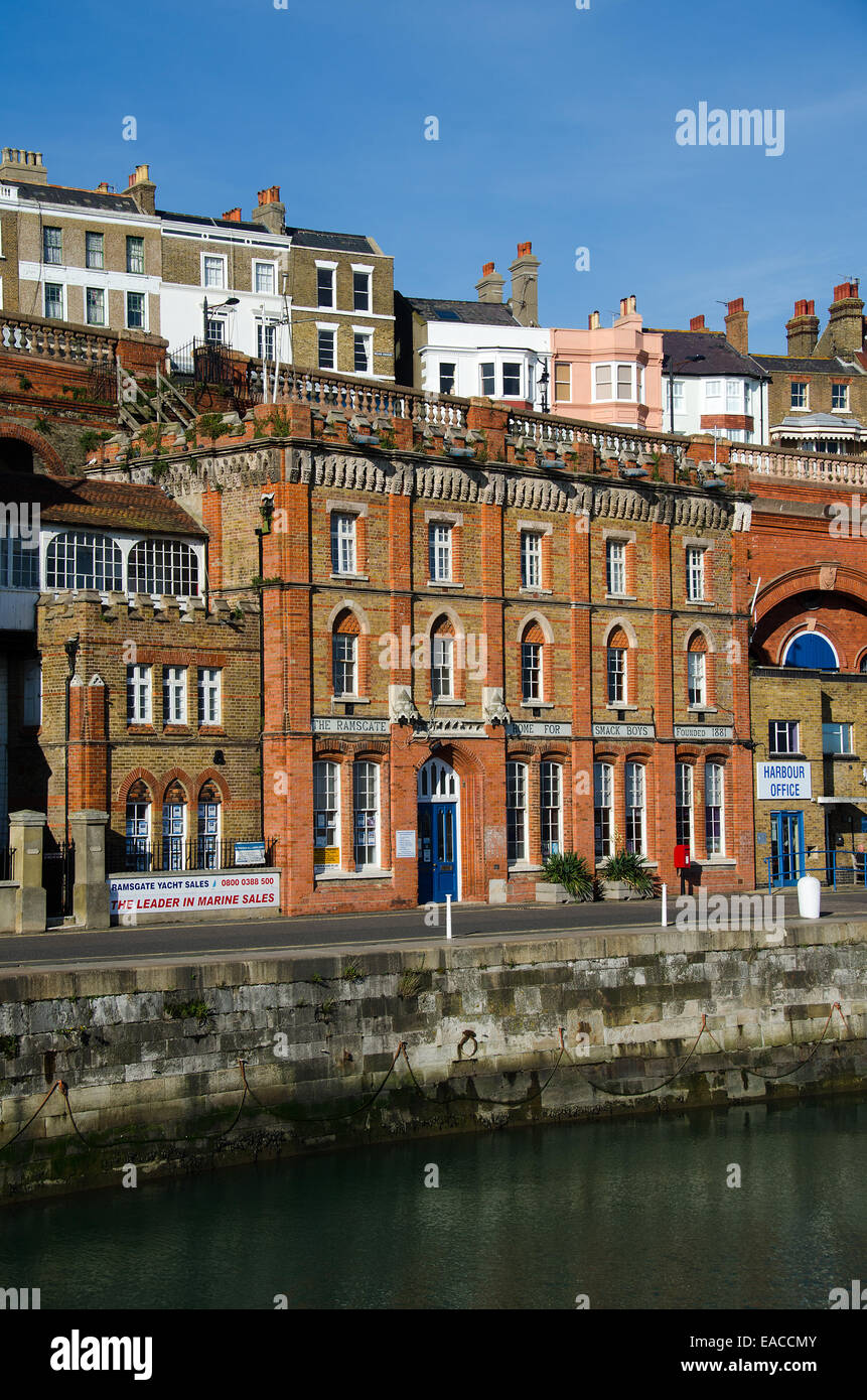 The Ramsgate Home for Smack Boys in the Royal Harbour at Ramsgate, Kent, UK.  This was home to orphan boys who were - Stock Image