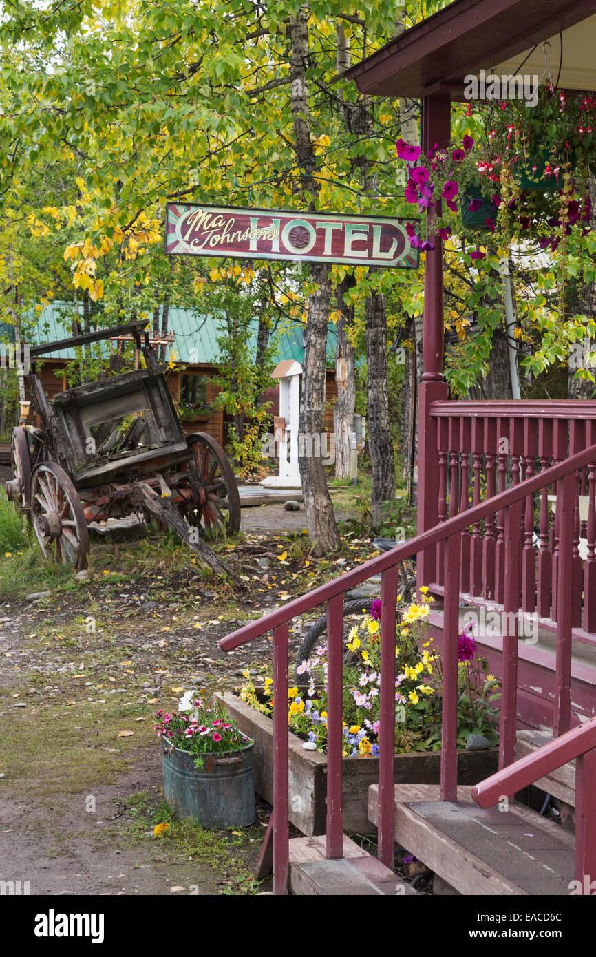 Ma Johnson's historic hotel; McCarthy, Alaska, United States of America - Stock Image