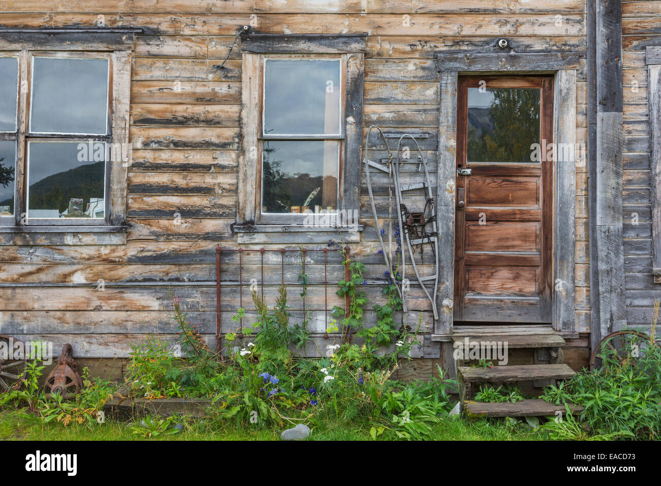 Old wooden house; McCarthy, Alaska, United States of America - Stock Image