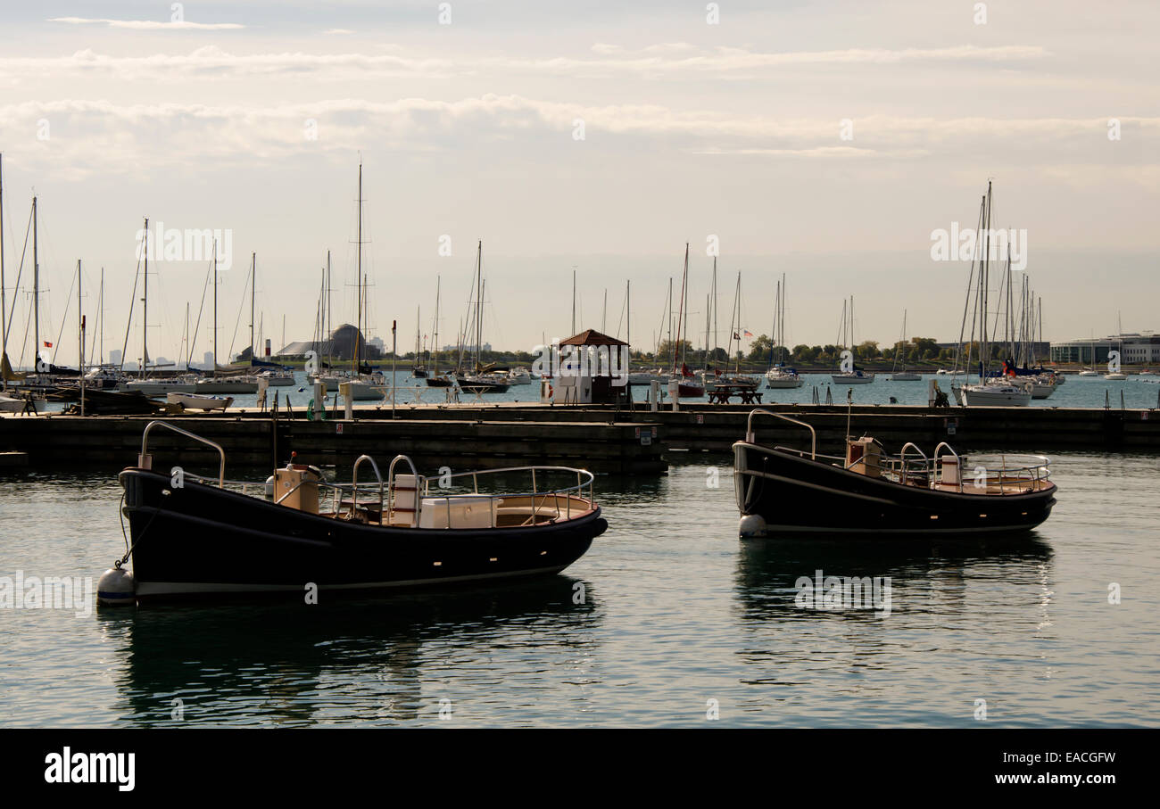 DuSable Harbor at sunset - Stock Image