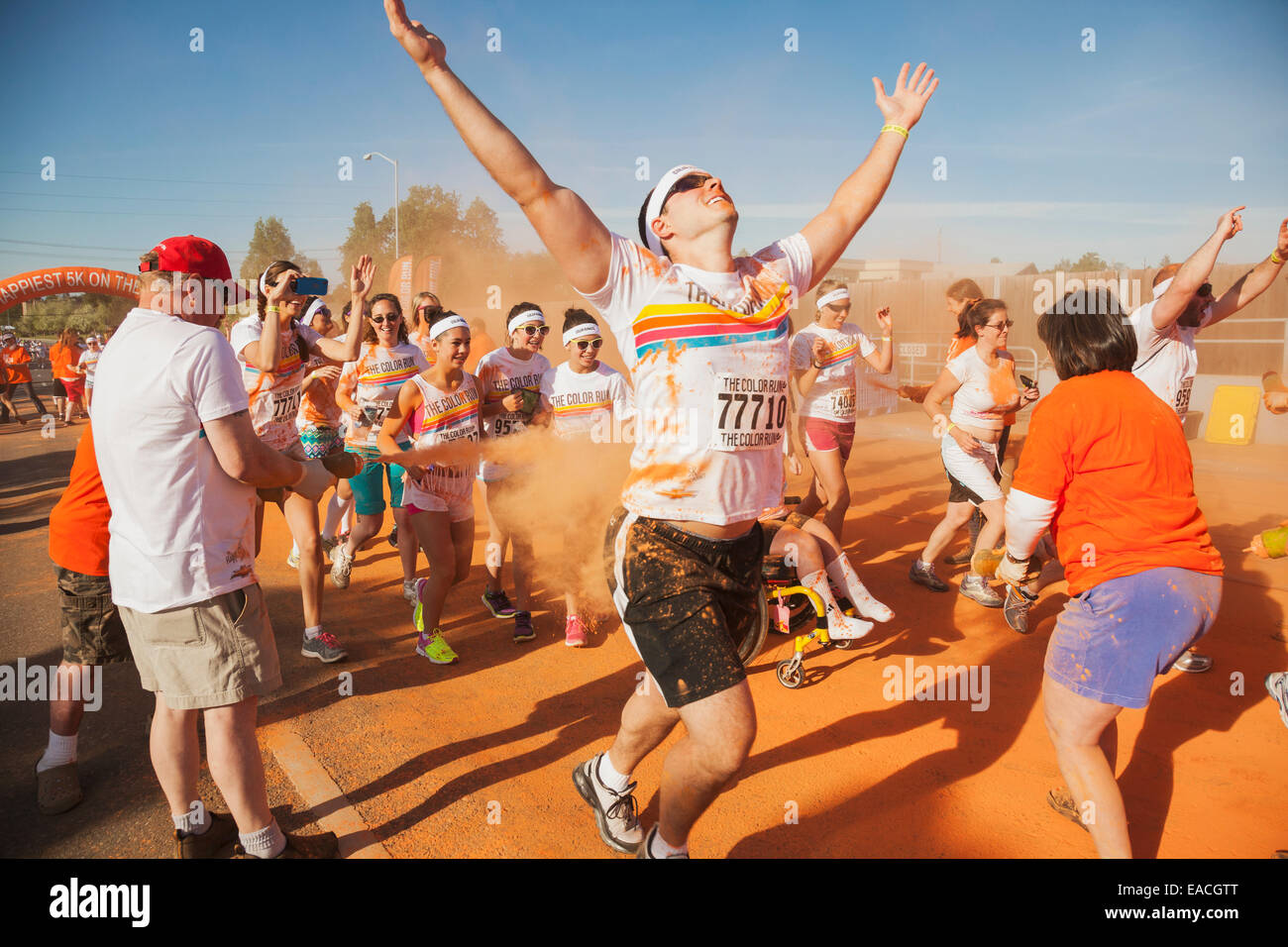 Participants in the Color Fun Run; Anchorage, Alaska, United States of America - Stock Image