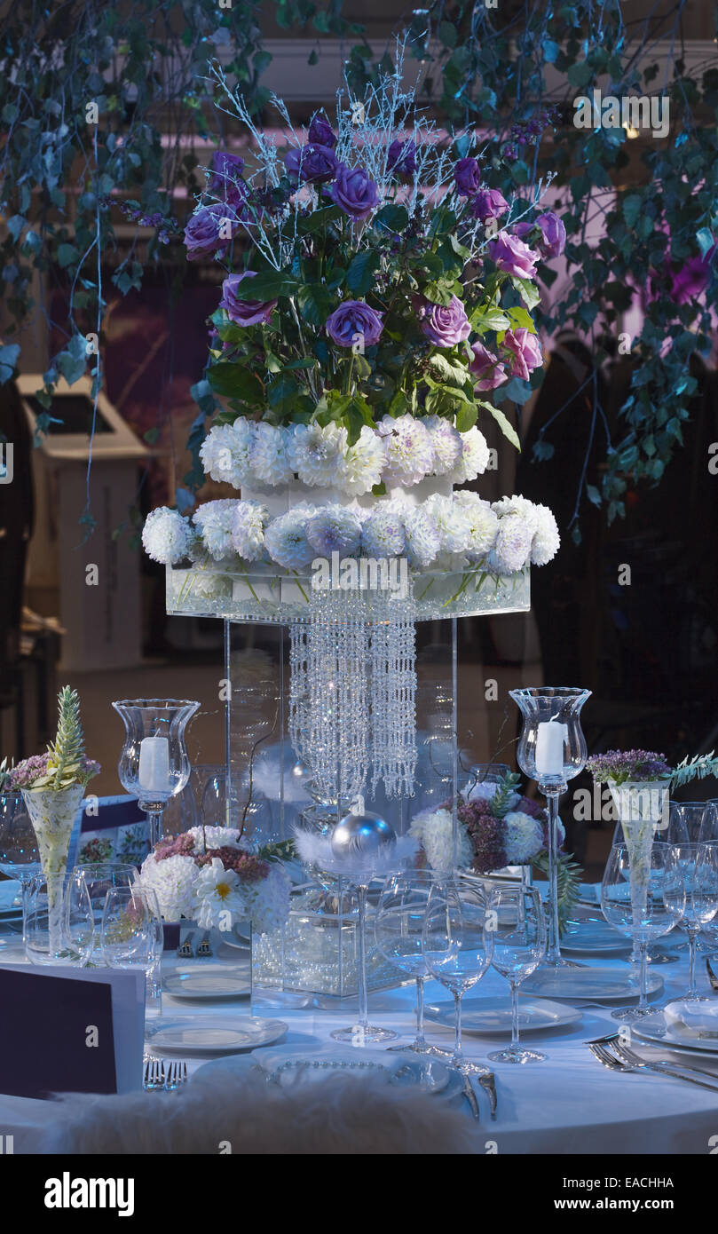 Wedding Celebration Centerpiece Dinner Table Stock Photo