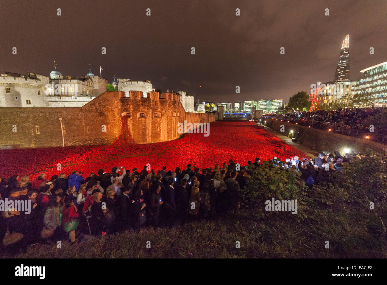London, England, UK. 11 November 2014. Huge  crowds assemble at the Tower of London in the night of Armistice Day - Stock Image