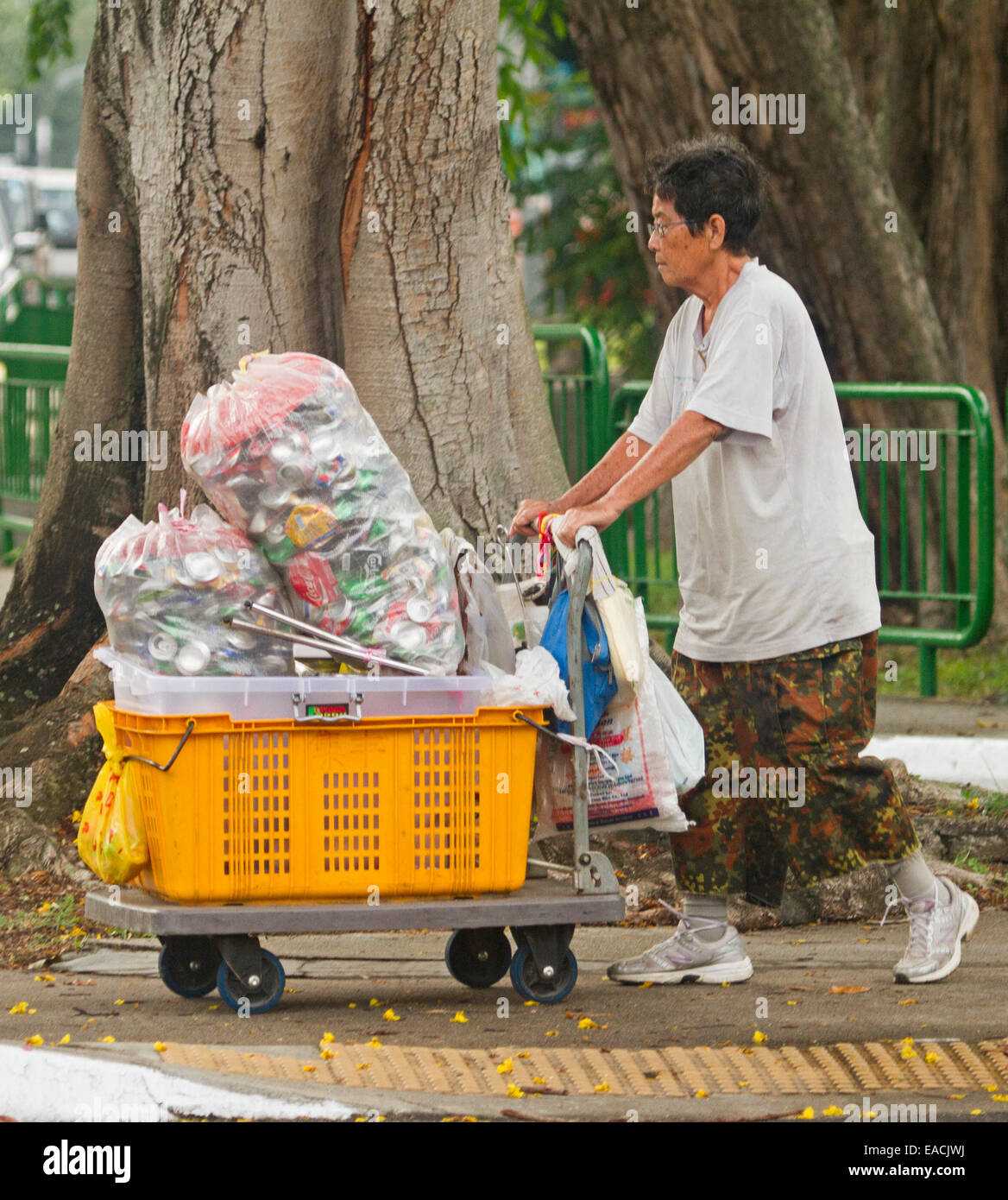 Asian woman on street in Singapore pushing trolley with plastic bins and bags filled with collected drink cans for Stock Photo
