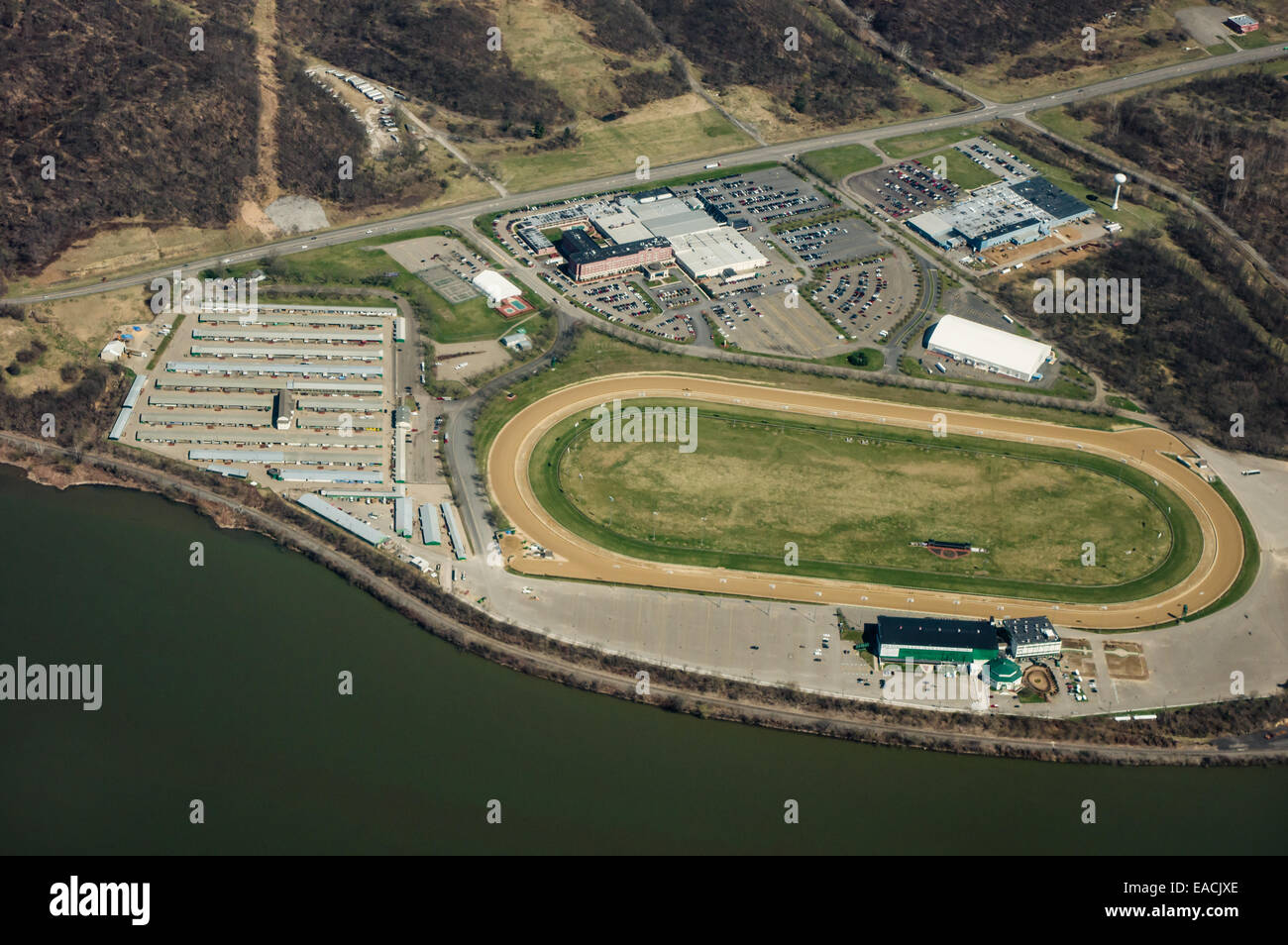 aerial view of mountaineer race track & gambling resort. new stock