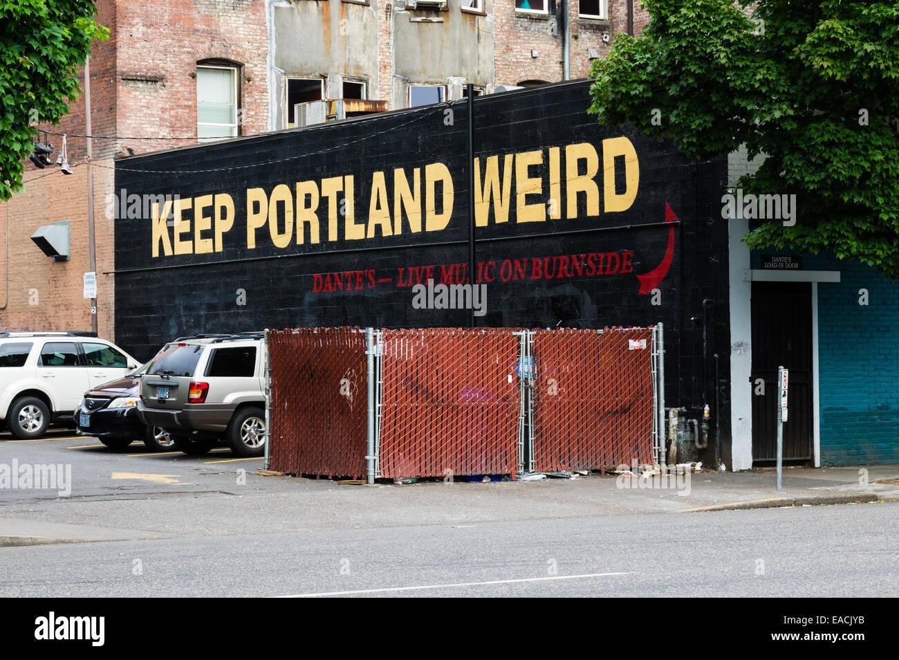 Keep Portland Weird billboard on downtown city street.  Portland, Oregon - Stock Image