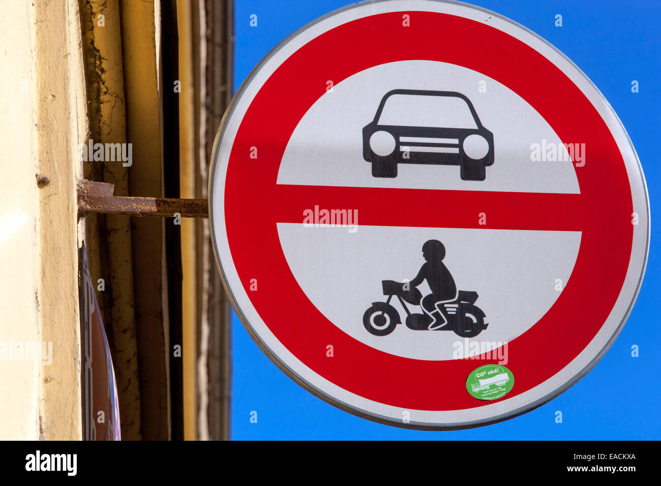 Road sign showing no entry for cars or motorcycles Czech - Stock Image