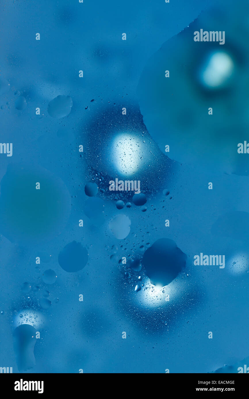 blue abstract background water bubbles - Stock Image