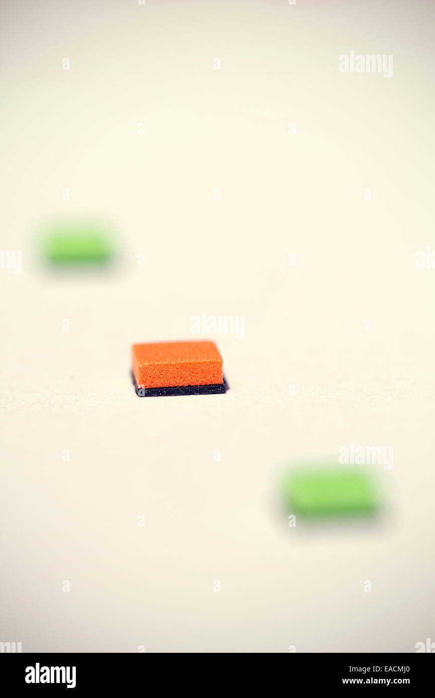 Abstract minimalist background, coloured squares. - Stock Image