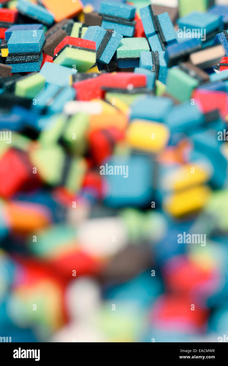 Multicoloured squares, close up. - Stock Image