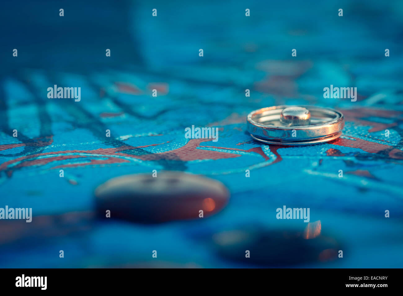 button canvas art blue abstract background - Stock Image