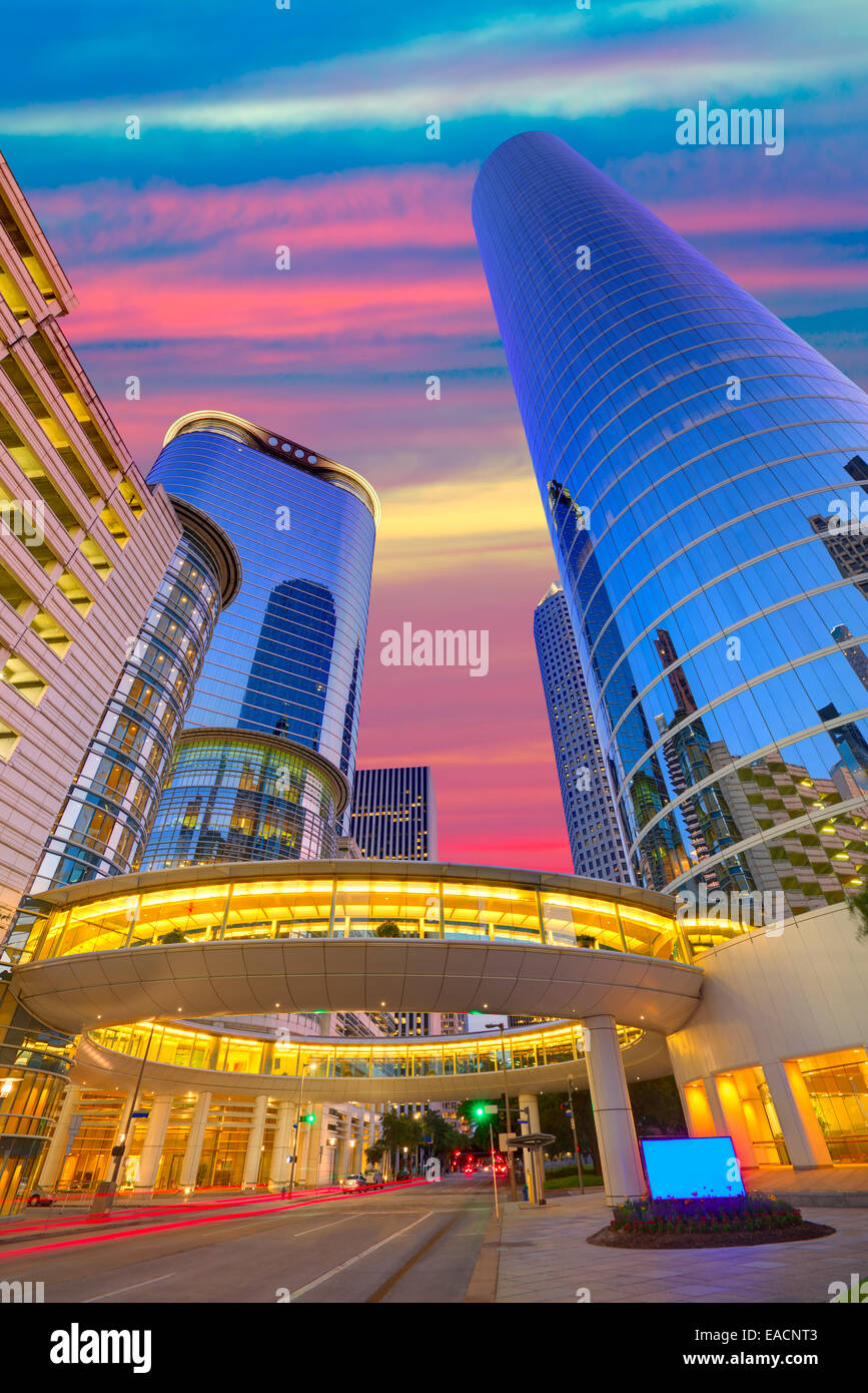 Houston Downtown sunset modern skyscrapers at Texas US USA - Stock Image