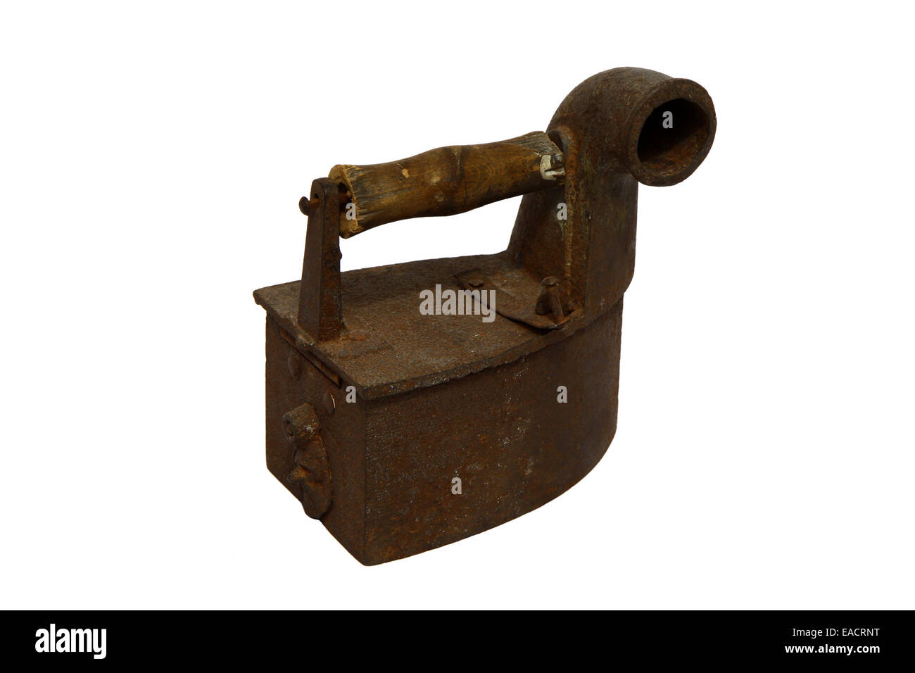 Old antique rusty charcoal iron isolated on white Stock Photo