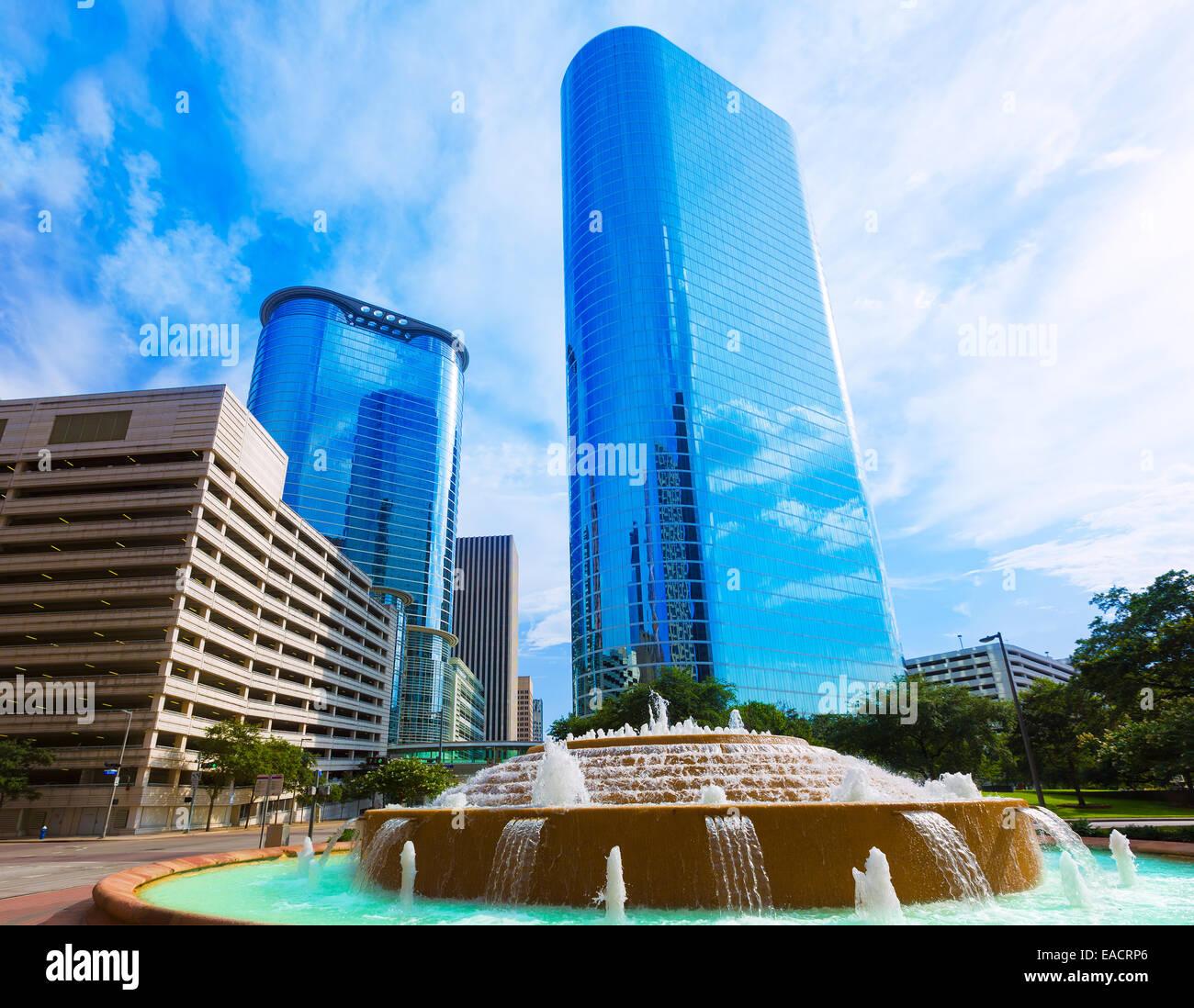 Bob and Vivian Smith fountain in Houston downtown Texas US - Stock Image