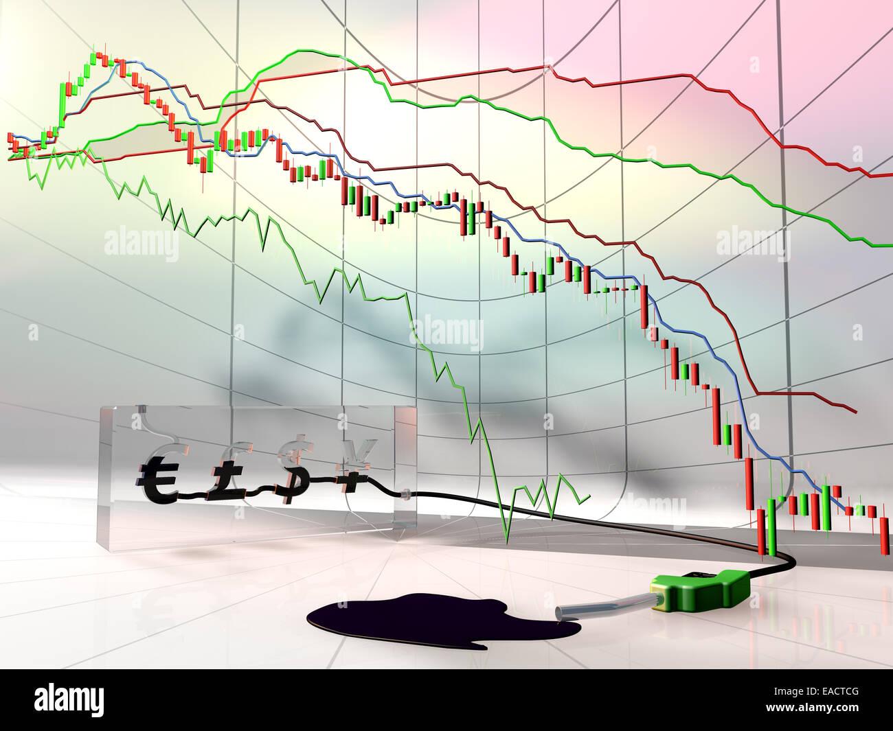 Conceptual oil chart dropdown. - Stock Image