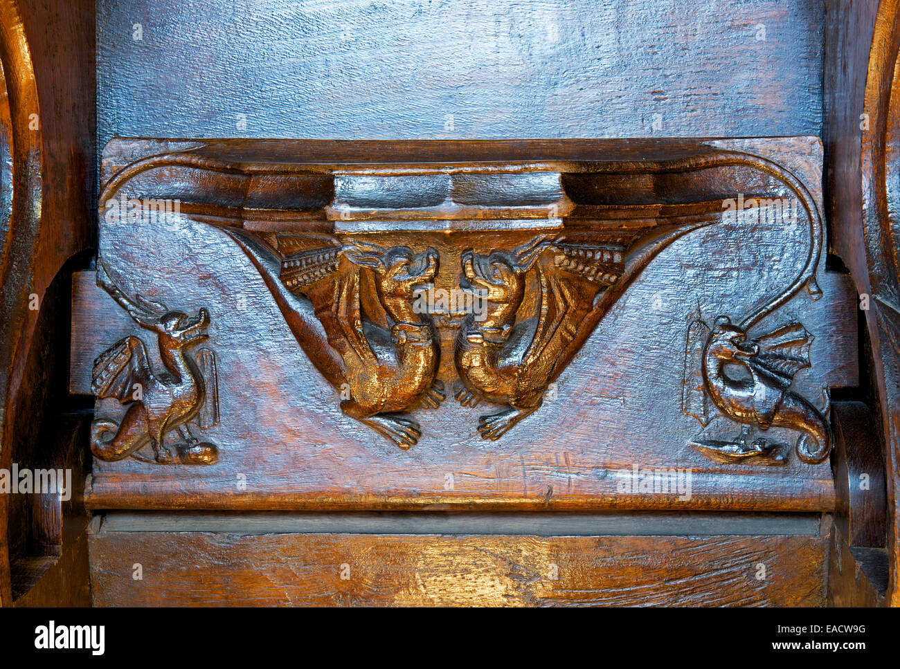 Carving of two dragons on choir stalls in St Mary's Church, Nantwich, Cheshire, England UK - Stock Image