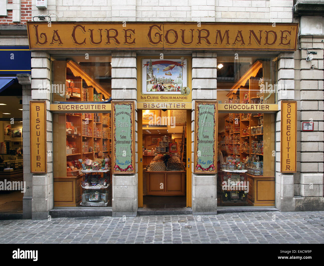 La Cure Gourmand chocolate shop.sweet.biscuit.Brussels.Belgium. - Stock Image