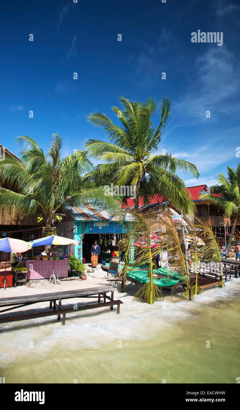 tropical koh rong island beach bars and restaurants near sihanoukville cambodia - Stock Image