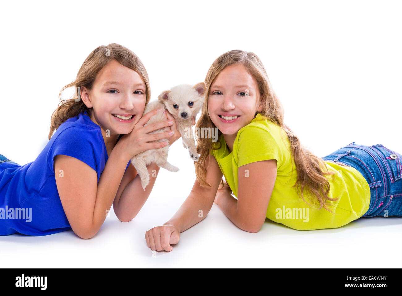 happy twin sister kid girls and puppy dog lying playing on white background - Stock Image