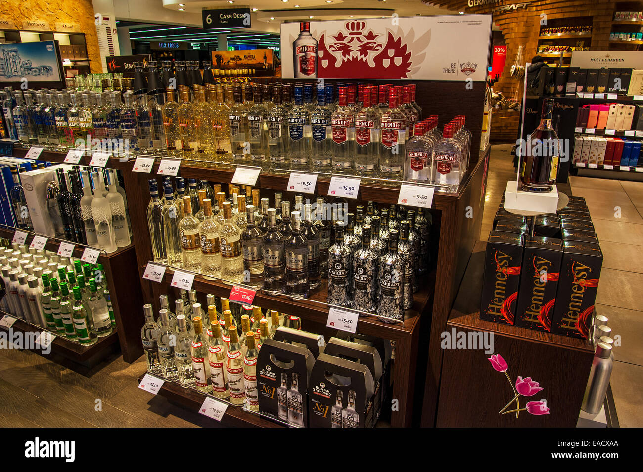 various spirits in the duty free shop frankfurt airport frankfurt stock photo 75272130 alamy. Black Bedroom Furniture Sets. Home Design Ideas