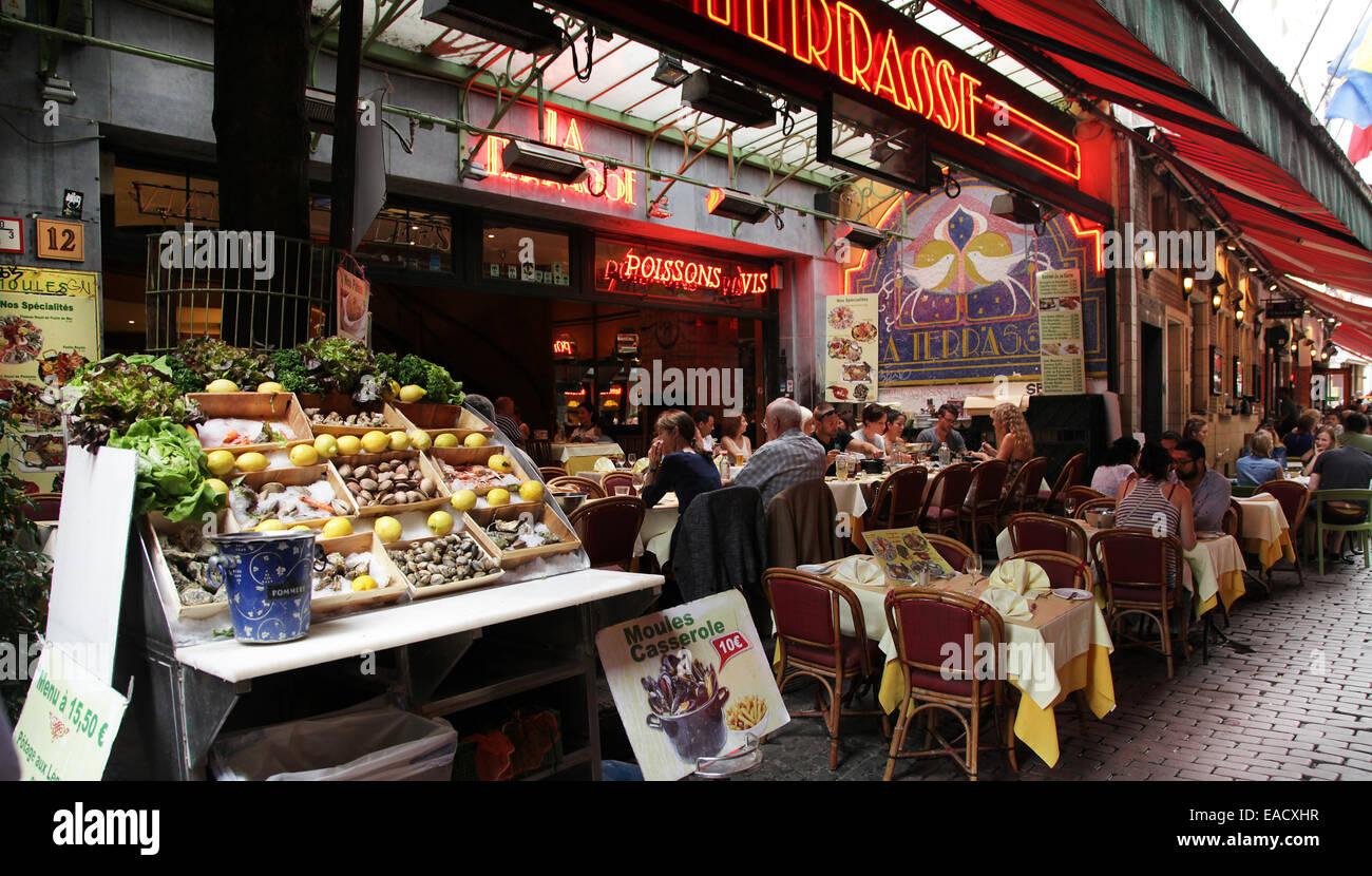 Restaurants at Rue des Bouchers.Brussels.Belgium.tourism Stock Photo
