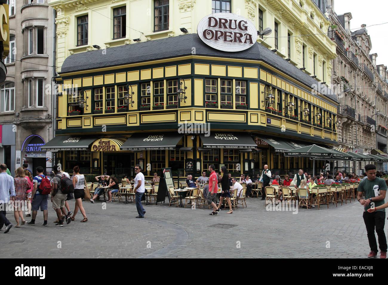 Restaurant Brussels Drug Opera.Brussels Belgium - Stock Image